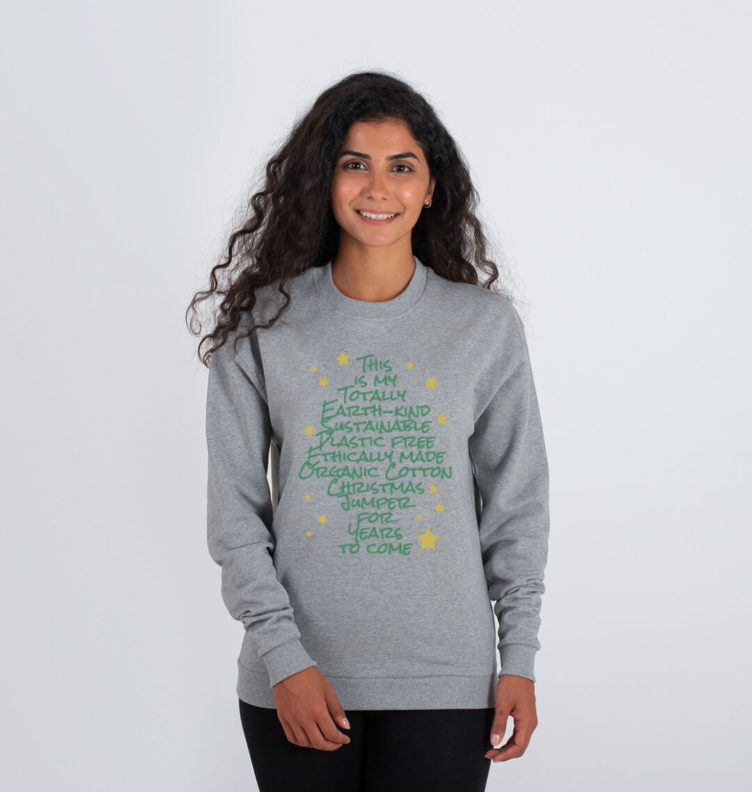 Eco friendly sustainable christmas jumper womens grey
